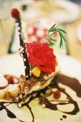 cake (the brownhorse) Tags: flower film cake dessert yummy brighton bills sweet olympus om1 olympusom1 afters puding