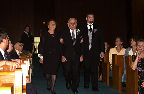 08 My brother walking grandparents down aisle