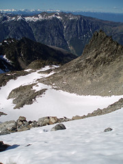 Looking down North Slope of Cashmere and rocks below 6/27/08