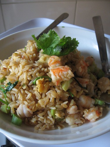 and shrimp fried rice or call it broccostems fried rice