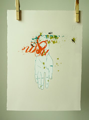 ... (ToSka  Joanna Jopkiewicz) Tags: illustration fly hand palm silkscreen serigraphy fullcolor toska