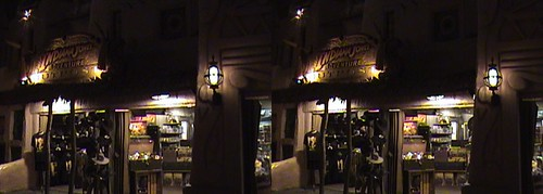 dsc06644, 2008:06:08 23:43, 3D, California, Anaheim, Disneyland®, Adventureland, Indiana Jones™ Adventure Outpost, night, color slow shutter