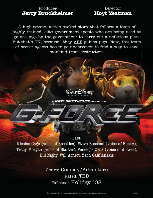 Pelicula G Force 2009 De Disney 3d