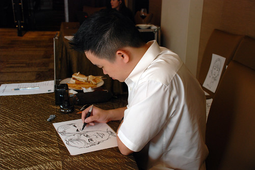 caricature live sketching for wedding dinner 120708  - 48