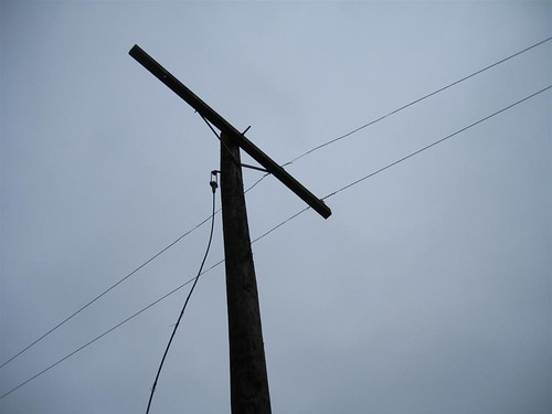 Loose guy wired telephone pole
