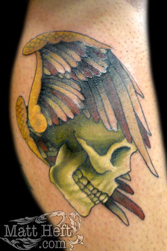 Skull WIng Tattoo by Matt Heft - Custom Tattoos & Fine Art
