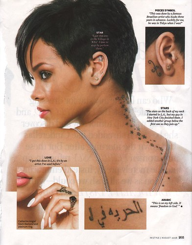 In early 2008, Rihanna revealed her latest tattoos