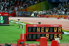 Beijing Olympics: Men's 100 Meters Final World Record 9.69 (rich115) Tags: china beijing running final record olympics beijing2008 sprint wr 100m worldrecord 969 olympics2008 beijingolympics 100meters licensechangedforioc