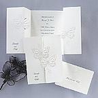 Butterfly Wedding Invitations, Interlocking monarch butterflies bright white, gate fold, wedding invitation, flowers, photos