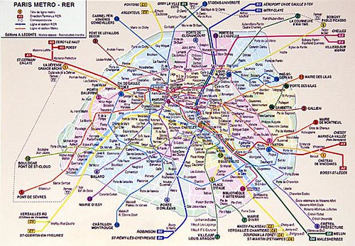 paris metro map 2011. Paris Metro Map Postcard 1999-2000