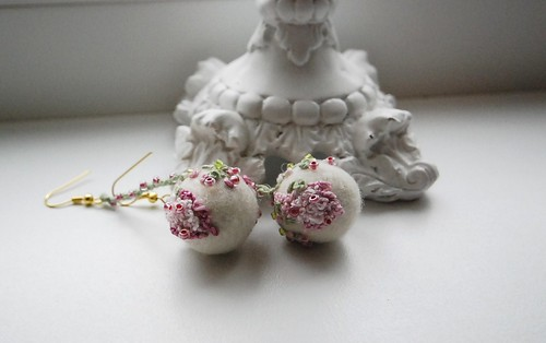 romantic felt bead earrings