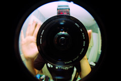 """Day 237/365 """"Look me in the fisheye!"""" (Hunter Wilson) Tags: summer portrait photoshop self vintage d50 circle lens mirror nikon angle nolan wide august retro fisheye wilson hunter 365 2008 wellstone 365days hunterwilson"""