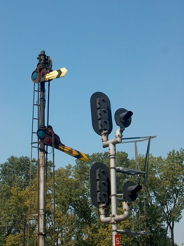The old steam era manual semaphore signals that used to operate at Brighton Junction. Chicago Illinois. September 2006.