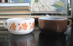 Groovy Glasbake and her plainer cousin, Fire King (hiddenlibrary) Tags: brown groovy fireking glasbake fortrade soupmugs