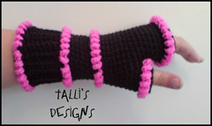 Tubular Fingerless Gloves - Pink and Black