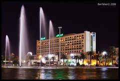 Grand Hotel by Night (Bashar Shglila) Tags: water fountain night hotel view grand libya tripoli  libyen    lbia libi  libiya  liviya libija bentaher     lbija  lby libja lbya liiba livi