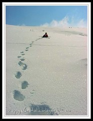 Footprints in the Snow (voyageAnatolia.blogspot.com) Tags: travel blue winter light sky sun white snow ski reflection field clouds turkey photography photo solitude shine snowy uv footprints turquie trkei ankara turquia | turqua tyrkiet turchia  higgs   turska snowlight elmadag  elmada   voyageanatolia
