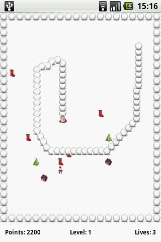 Christmas Version of Snake an accelerometer Game for Android G1