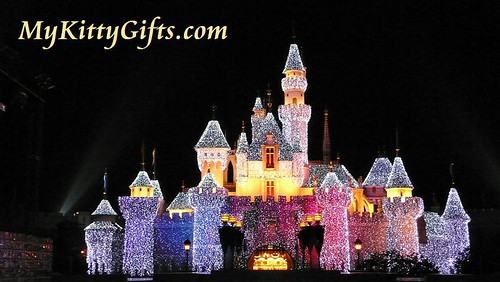 Hello Kitty's View of Sleeping Beauty Castle in Yellow Lights, Hong Kong Disneyland
