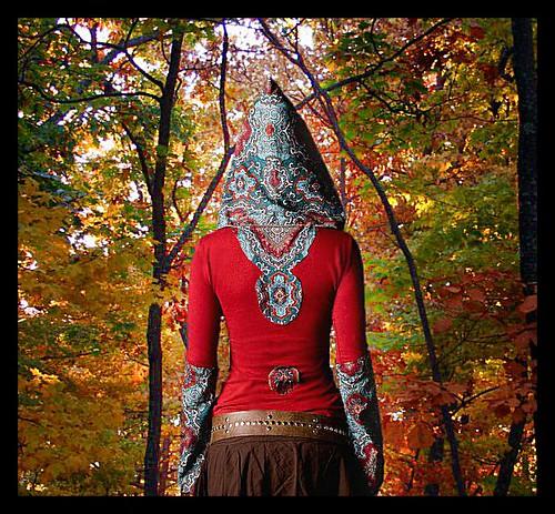 Tibetan Elf Hoodie with Tribal Elf Hood...Elf Fashion and Clothing by Ashlihara. ElvenForestCreatons.etsy.com