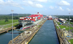 Panama Canal - Looking Back (roger4336) Tags: cruise lake boat canal ship container locks locomotive caribbean panama 2008 mule panamacanal gatun zuiderdam panamax