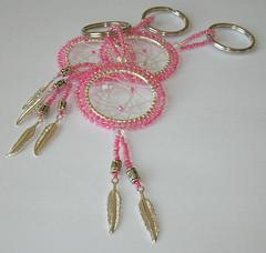 Hot Pink Dreamcatcher Keychain (fivefootfury) Tags: pink keychain web dream accessories beaded dreamcatcher beadwork hotpink swarovskicrystals beadweaving ebwteam pinkdreamcatcher