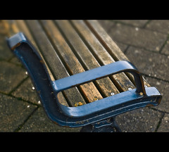 ...Rest A While... (Komatoes) Tags: wood blue metal bench 50mm nikon paint empty seat quay devon exeter rivet 50mmf18