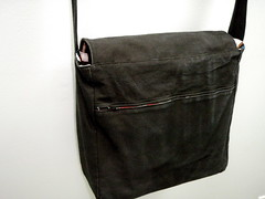 backside of messenger bag