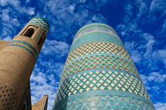 Uzbekistan-370 (Kelly Cheng) Tags: travel colour horizontal museum architecture design daylight asia outdoor madrasah minaret muslim culture vivid sunny bluesky unesco getty silkroad copyspace uzbekistan centralasia khiva kaltaminor ichonqala khorezm lptowers gettysale pickbykc gi1011 92865149 gi1206