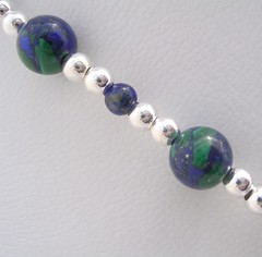 Azurite intergrown with malachite in a necklace with lots of silver