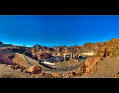 The Hoover Dam Pillbox :: HDR :: Panorama (|sumsion|) Tags: arizona panorama usa water river landscape interesting construction nikon dam nevada january explore hooverdam 2009 hdr highdynamicrange bracketing d90 photomatix tonemapped sumsion explored nikond90 |sumsion| sumsioncom