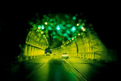 green line (Beshef) Tags: street light green car night iran tunnel line tehran  resalat
