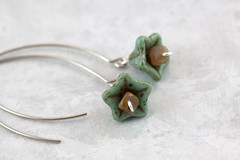 Moss Green Flower Earrings (Boutique By Bonnie) Tags: brown verde green glass silver moss handmade jewelry jewellery fairy earrings etsy dangle mossy beaded elvin elvish pietersite boutiquebybonnie