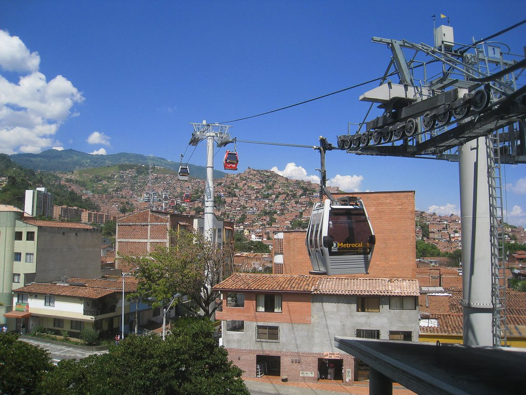 The Metrocable connects the main metro line with poor neighborhoods along the mountainside.