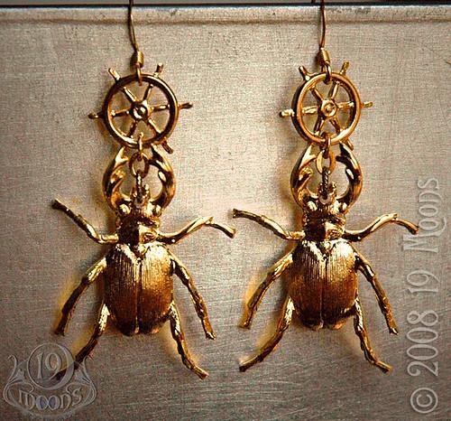 -=: Nautical Steampunk Beetle Earrings :=-