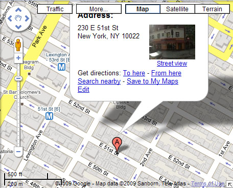 Google Map of Parnasse Restaurant location, NYC