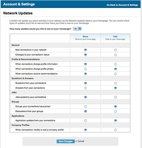 LinkedIn Account & Settings Network Updates