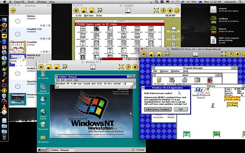 Q running Windows NT 4.0, FreeDOS with OpenGEM and MS-DOS 6.02 with Windows 3.11