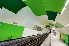 Warped Tunnel with Green and White Tiles (yushimoto_02 [christian]) Tags: art station horizontal architecture canon germany underground subway munich mnchen geotagged outdoors deutschland vanishingpoint arquitectura europe arch publictransportation angle metro angles tunnel nopeople ceiling line ubahn architektur tilt vanishing hdr garching tunnelvision architectura absence railroadtrack fluchtpunkt thewayforward platinumphoto platinumheartaward saariysqualitypictures railroadstationplatform gettyimagesartistpick