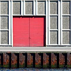 pink doors, grey rectangles, rust and sea (fourcotts) Tags: door pink sea copenhagen square grey dock steel rusty rectangles 500x500 aplusphoto fourcotts