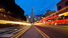 A Summer without Flickr (kaoni701) Tags: sf sanfrancisco street columbus night square nikon downtown pyramid dusk broadway trails jackson tokina northbeach lighttrails 28 transamerica converging 1116 d300s tokina1116mmf28