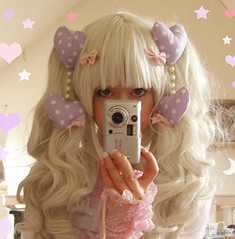 symmetrical hair coord (pinkish_white) Tags: wig crafty selfmade