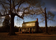 Archibald H. Coffield House (History Rambler) Tags: old trees light sunset house abandoned home rural oak south northcarolina historic southern porch plantation vacant antebellum chimneys decayed tinroof martincounty oncewashome