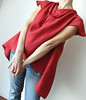 Origami Curve Tunic With Red Linen Fabric