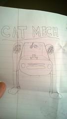 Cat Mech (radargeek) Tags: art cat sketch kid drawing mecha mech fuzzydice battlemech