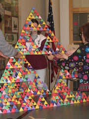 Four together create the next stage (chelmsfordpubliclibrary) Tags: ma chelmsford chelmsfordpubliclibrary tetrahedrons sierpinskitetrahedrons februaryvacation2008 whatsmathgottodowithit