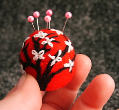 Mini cherry blossom bottlecap pincushion