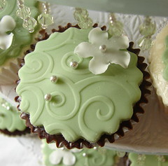 chocolate cupcake (alana_hodgson) Tags: flower green chocolate cupcake embossed gumpaste sweettreats dragees