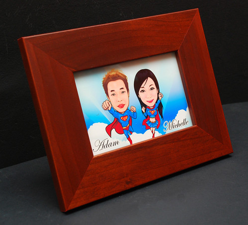 caricatures on ceramic tile with frame 9