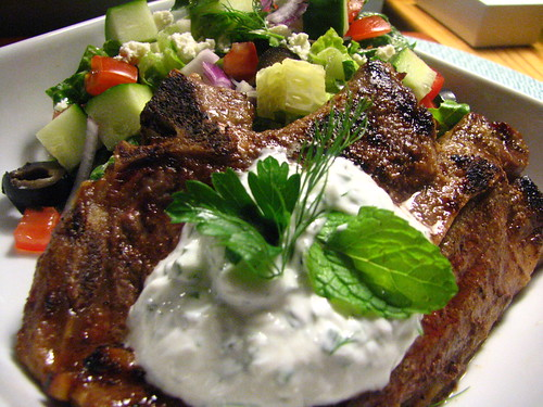 Grilled Lamb Shoulder Chop with a Yogurt Herb Sauce and Grilled Pita
